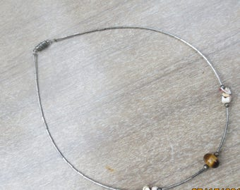 Silver Chain Choker with tiny stones 16 inch necklace made in the 1970s