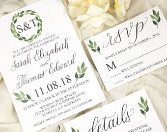 Greenery Wedding Invitation Template - Professionally Printed Invitation, RSVP card and Details Card
