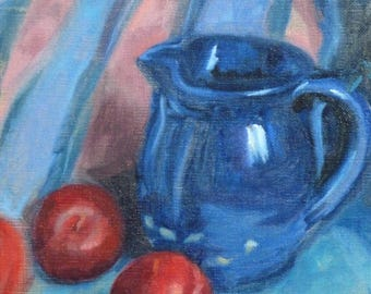 Jug and plums, oil painting in oak frame