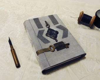 one of a kind - large gray suede travel notebook with thick white pages - handmade journal - vintage style leather diary
