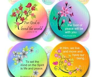 Instant Download - Scripture Bible Verses Collage Sheet - 1.25 inch circles bottle cap pendants, hair bows, magnets 333