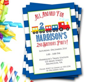 Train Birthday Invitation, Train Party, Train Invite, Boy Birthday, All Aboard, Transportation Invitation, First Birthday, DIY Printable