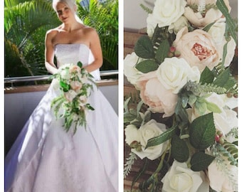 Ivory rose and peony artificial bride flower bouquet