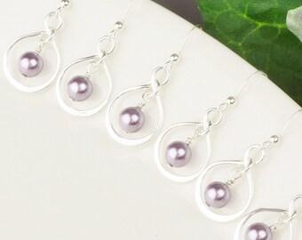 Wedding Jewelry SET OF 5 Bridesmaid Earrings - Lavender Earrings - Swarovski Pearl Drop Earrings - Bridesmaid Jewelry Set - Purple Earrings