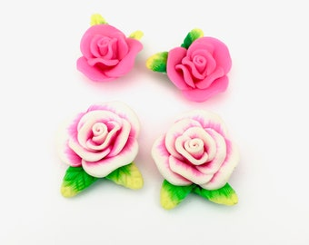 4 Polymer clay cabochon flowers ,19mm to 30mm,#FL 120
