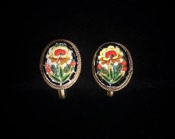 Antique Micro Mosaic Flower Screw Back Earrings - Marked FAP