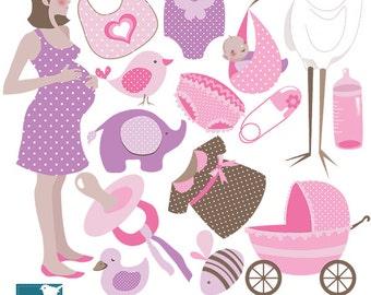 Girl Baby Shower Digital Clipart - Scrapbooking , card design, invitations, paper craft, web design - INSTANT DOWNLOAD