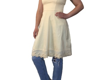 1990s Perfectly Pale Yellow Fun and Flirty Summer of Love Sundress Spring into Summer Eyelet Trimmed Spaghetti Strap Dress