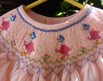 Bishop Yoke Dress with 'Jemima Puddle-duck' Smocking