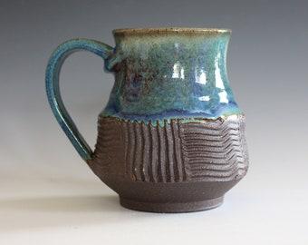 Unique Coffee Mug, 17 oz, handmade ceramic cup, handthrown mug, stoneware mug, pottery mug unique coffee mug ceramics and pottery