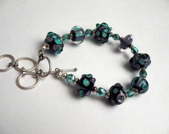 1 x Glass Purple and Green Lampwork and Sterling Bracelet SRA