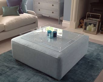 Footstool Tray or Ottoman Tray | Acrylic Tray  | Serving Tray |  Premium Perspex Acrylic | Made in the UK
