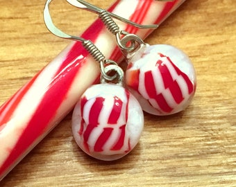 Candy Cane Red & White Christmas Dangle Earrings, Peppermint Fused Glass, Gift for Her, Teacher Gift