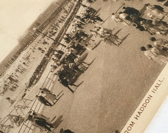 The Jersey shore vintage postcard boardwalk and beach from Haddon Hall from when the boardwalk was 8 miles long