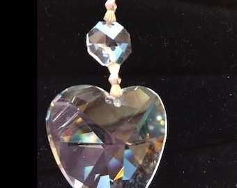 5 Clear 40mm Heart Chandelier Crystal Ornament