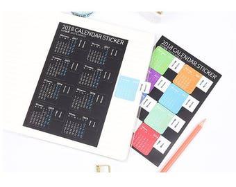 2018 Calendar sticker monthly Calendar sticker monthly label diary planner sticker monthly planner schedule planner year planner insert gift