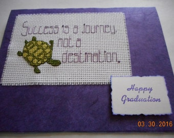 Graduation Card,Success is a journey not a destination.Happy Graduation,cross stitch card,hand made card