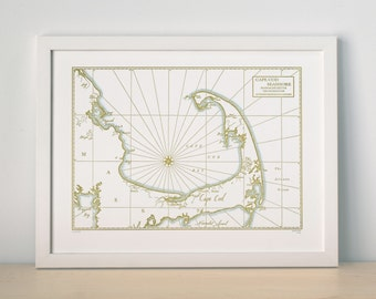 Cape Cod Bay and Seashore, Letterpress printed map (Mustard)
