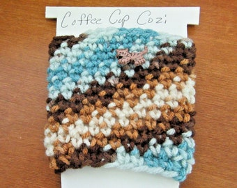 Insulated Blue and Brown Coffee Cup Cover Cozi, Fits Starbucks Grande or Venti Size Hot or Cold Cups Crochet Cat Button on Top Stretchy