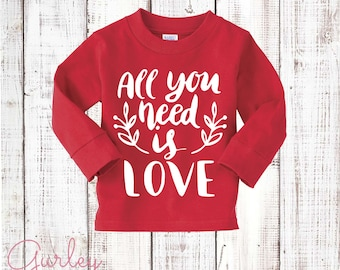 Kids Valentine's Day Shirt Red Long Sleeve