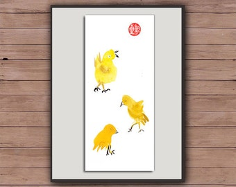 Rooster, Chicks Chinese New Year 2017, Year of the Rooster, Original Zen Painting, zen decor, child's nursery art, japanese chicken