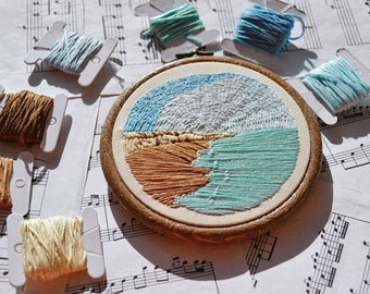 Beach Embroidery Hoop Art