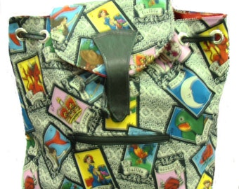 Large Backpack  with Latino Cultural Loteria Image US  hand made