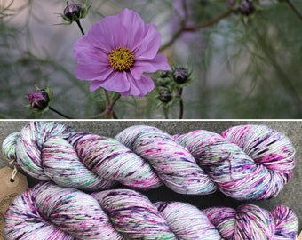 Meadow Bouquet, speckled summer indie dyed merino nylon sock yarn grey gray
