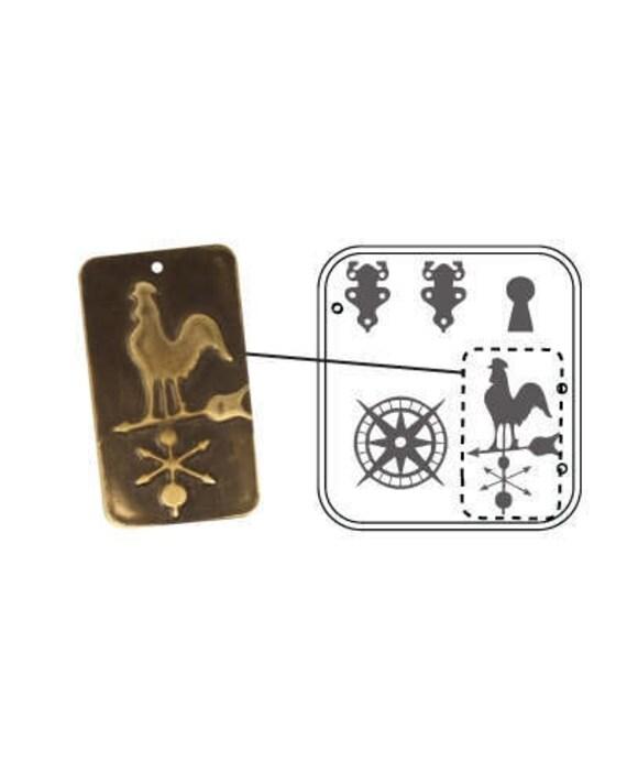 """SALE - nVintaj DecoEmboss Die Weathervane Rooster Key 2 3/8x2 5/8"""""""