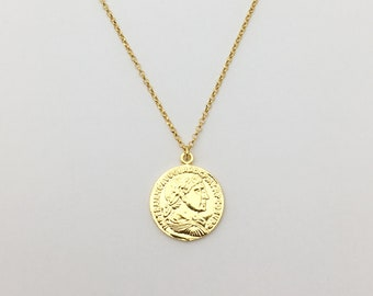 Gold coin Necklace Vermeil