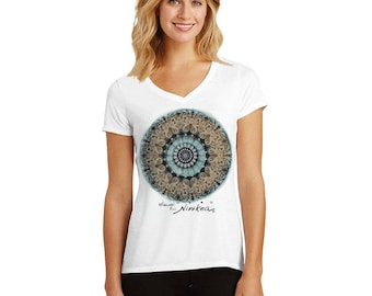 MERMAID, SEA TURTLE, Brown Mandala, T-shirt - cap sleeves  – handmade in Hawaii