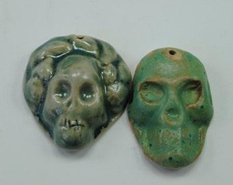 ceramic pendant skeleton necklace skull pendant dia de los muertos Frida Kahlo