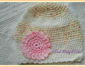 Newborn baby crocheted hat girl flower hand made one of a kind