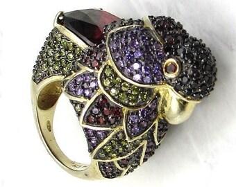 925 silver & 18k gold - multi-color gem royal parrot ring sz 7 - r1036