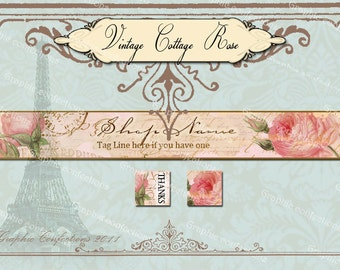 Vintage Cottage Rose, so shabby chic n sweet Etsy banner and avatar set