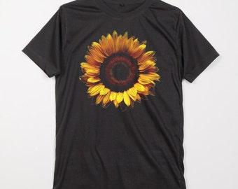 Big Sunflower Helianthus Flower Retro White Gray Dark Black Unisex T