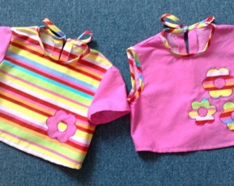 Sugar candy summer tops for little girls (or twins) set of 2
