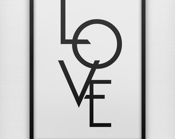 LOVE typography art print, black and white modern typography wall poster