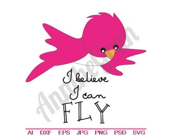 Flying Little Bird - Svg, Dxf, Eps, Png, Jpg, Vector Art, Clipart, Cut File, I Believe I Can Fly SVG