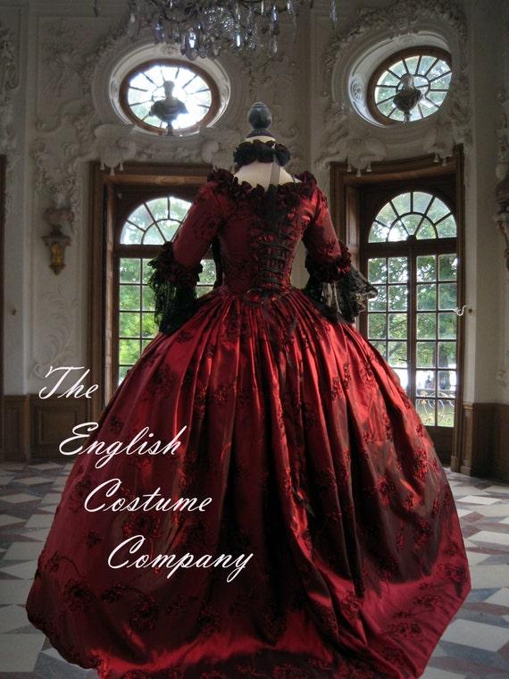B/ Marie Antoinette dress. Georgian taffeta evening gown.Fully