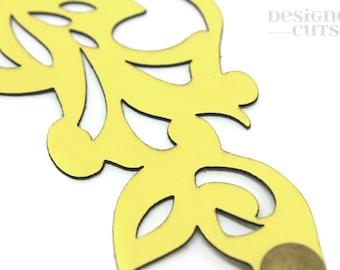 Laser cut leather cuff bracelet - lemon swirl design