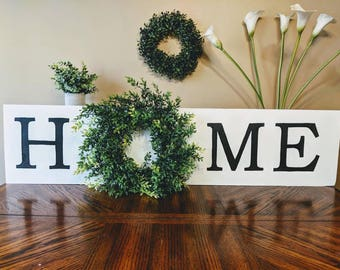 Home sign with wreath | Large wooden sign | Farmhouse sign | Wreath | Wood decor | Home sign | Rustic sign | Established wood sign