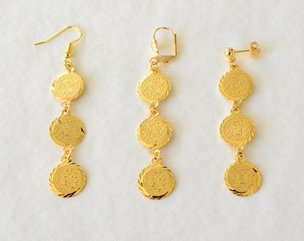 Yellow Gold Plated Long Dangle Coin Earrings Clip On 7PWSs0
