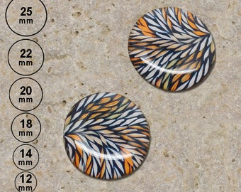 2 cabochons 20 mm, leaf, orange 25, 22, 18, 14, 12 mm