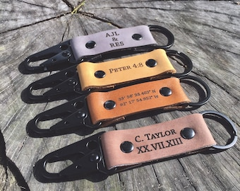 Custom keychain, Leather keychain, Personalized leather keychain, fathers day gift, Gift for him, 3 year Anniversary gift, mens gift, Dad