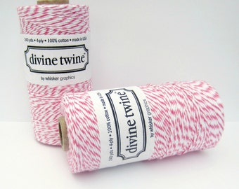 Raspberry Divine Twine- full spool, 240 yards, hot pink  and white, cotton string, bakers twine