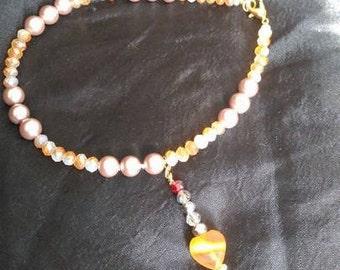 Orange Agate/Pearl charm Anklet