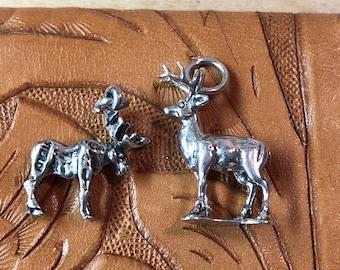 Sterling Stag Deer and Moose w/Antlers Charms