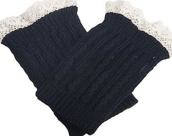 Knitted Boot Cuffs - Stretchy - Lace - Black - Faux Leg Warmers - Boot Toppers