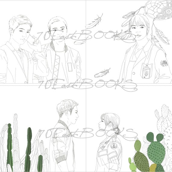 Descendants of the Sun Coloring Book for adult THE